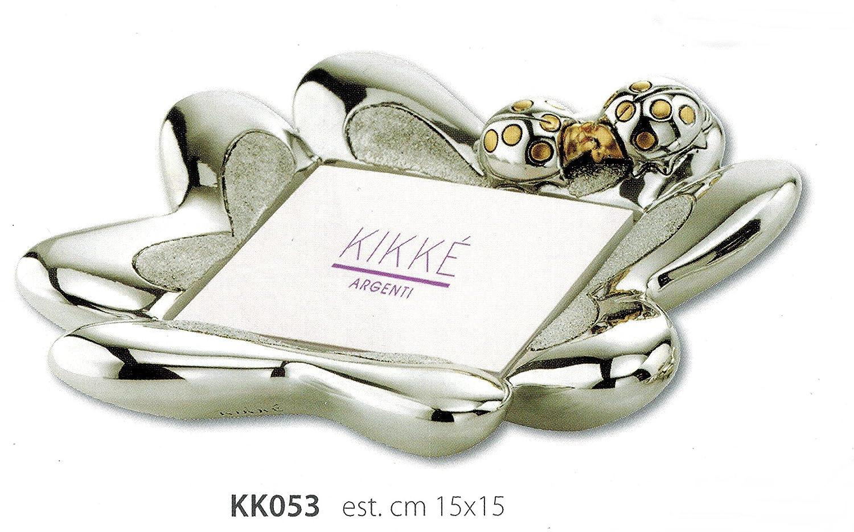KIKKE Porta Post IT STATUINA Coccinella su Quadrifoglio Inserti Dorati Lucido E Satinata CM 15X15 Laminato Argento Made in Italy