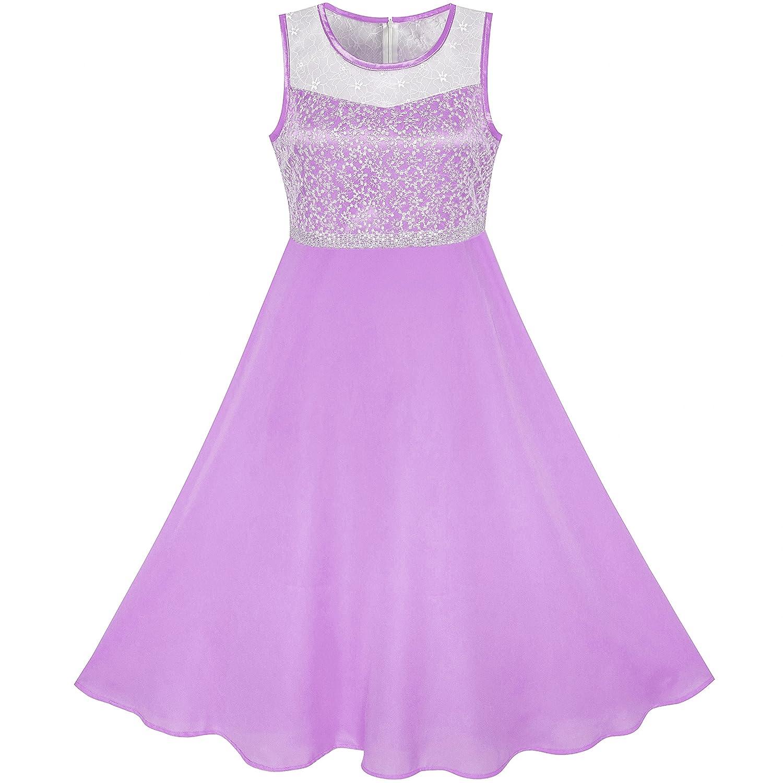 Sunny Fashion Girls Dress Rhinestone Chiffon Bridesmaid Dance Ball Maxi Gown