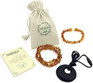 ALVABABY Amber Teething Necklace & Bracelet or Anklet for Babies (Unisex) - Anti Flammatory Drooling & Fussiness Reduce Amber Teething Bracelet or Anklet GNB03-CA