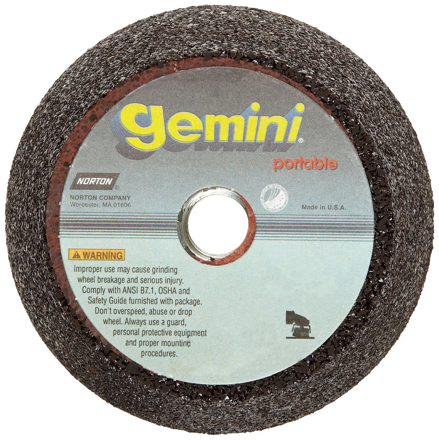 Norton Gemini Portable Snagging Abrasive Wheel, Type 11 Flaring Cup, 5/8''-11 Hole Diameter, Aluminum Oxide, 4/3'' Diameter x 2'' Thickness, Grit 16 (Pack of 1)
