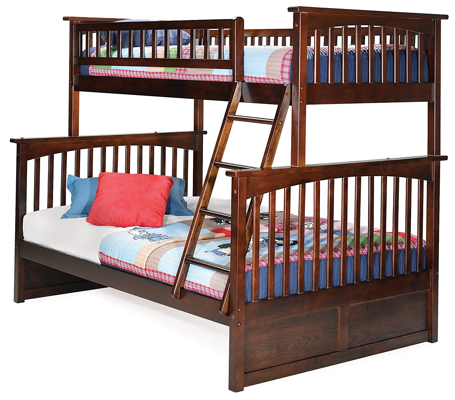 Amazon Com Columbia Bunk Bed Twin Over Full Antique Walnut
