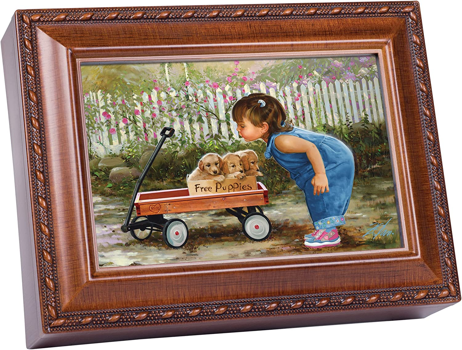 Cottage Garden Free Puppies Girl with Wood Wagon Woodgrain Rope Trim Jewelry Music Box Plays You are My Sunshine