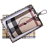 Olivery Fashion Leather Keychain Key Holder Wallet, Six Key Hook with Card Holder (Plaid Color Case)