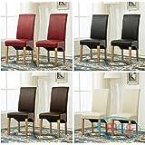 Set di 2 sedie da pranzo in pelle con schienale alto per ristoranti privati e commerciali (D) Rosso