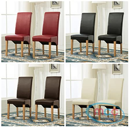 Set Of 2 Faux Leather Dining Chairs Roll Top Scroll High Back For Home Commercial