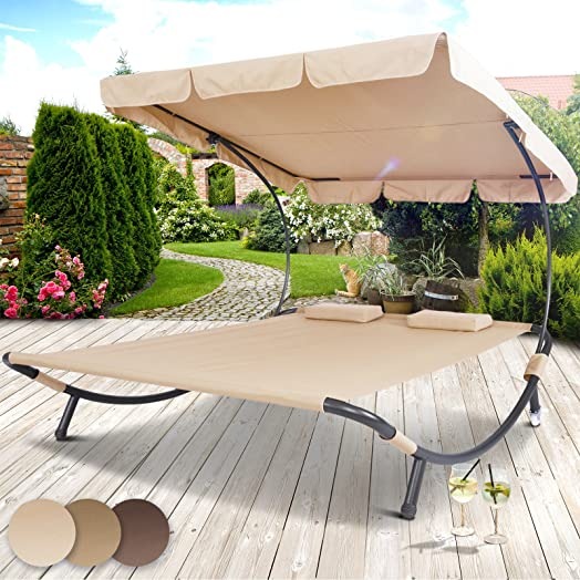miadomodo sun lounger double day bed hammock chaise outdoor shade canopy garden furniture in different colours - Garden Furniture Colours