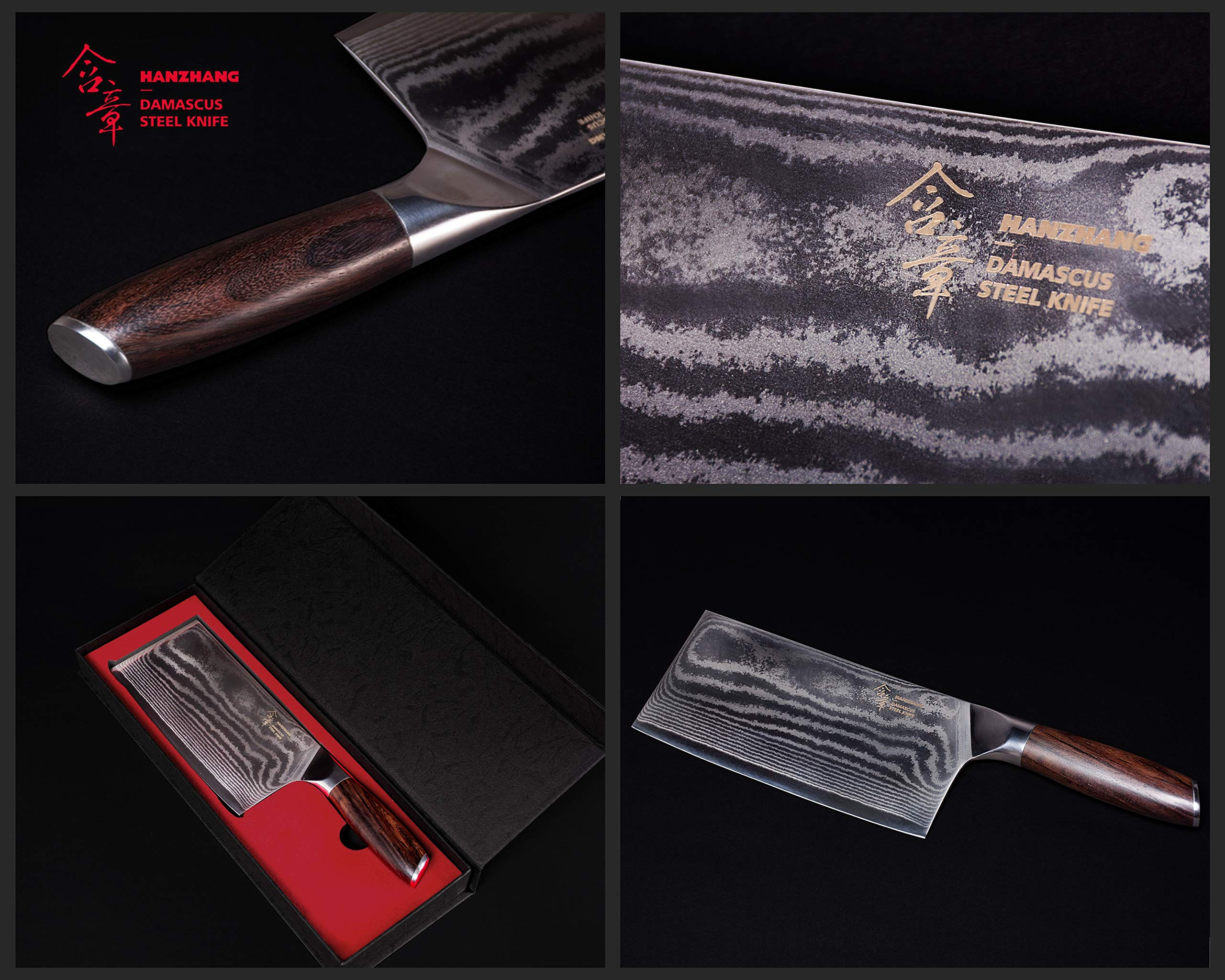 Hanzhang【含章】 刀品-菜刀CaiDao Made of Real 67-Layer Damascus Steel Refined Traditional Chinese Kitchen Knife by Hanzhang【含章】 (Image #6)