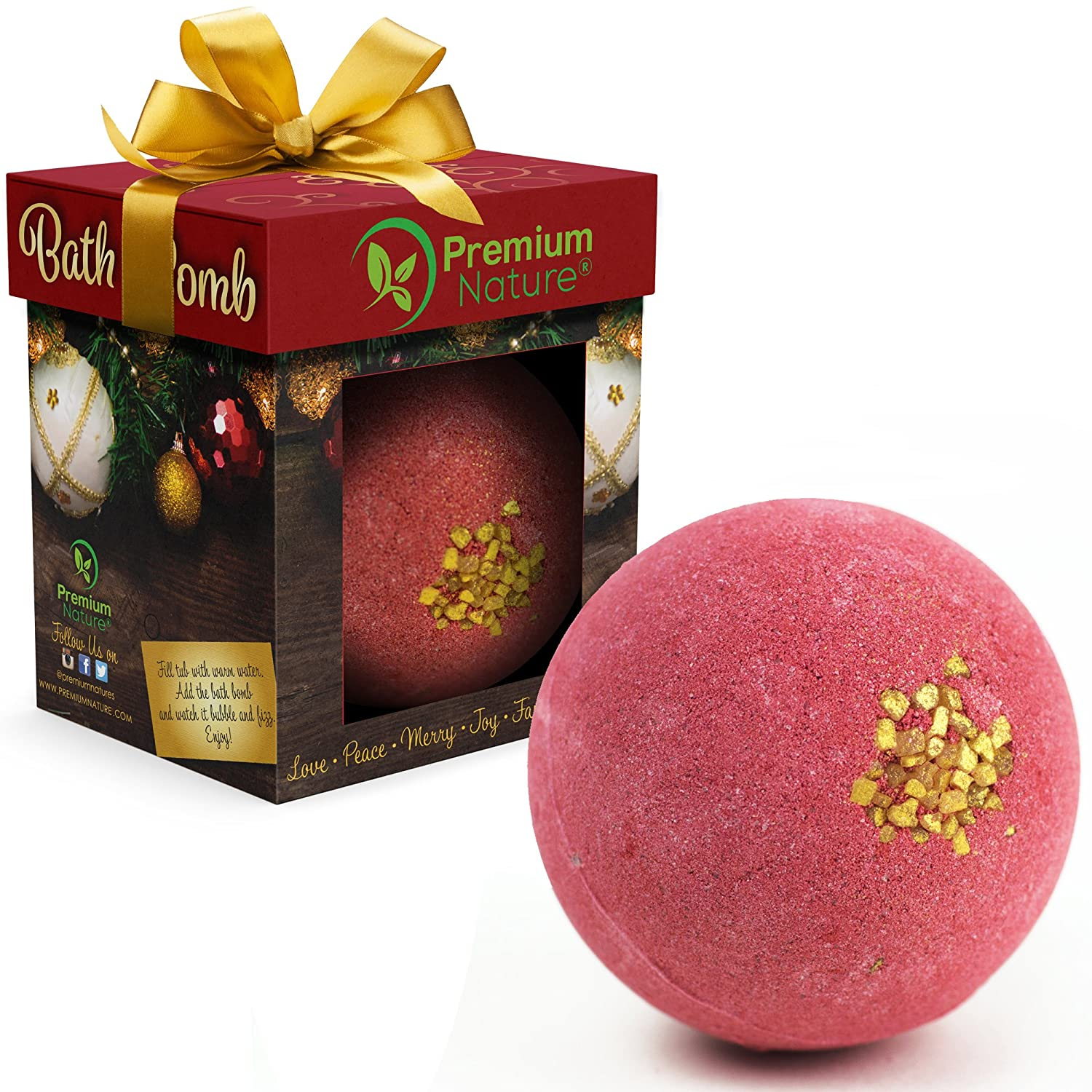 Holiday Bath Bomb Gift - Individually Packaged Christmas Bubble Bath Fizzy With Relaxing Scent, Bathtub Essential Oils For Soft And Moisturized Skin, Suitable For Dry And Sensitive Skin Premium Nature