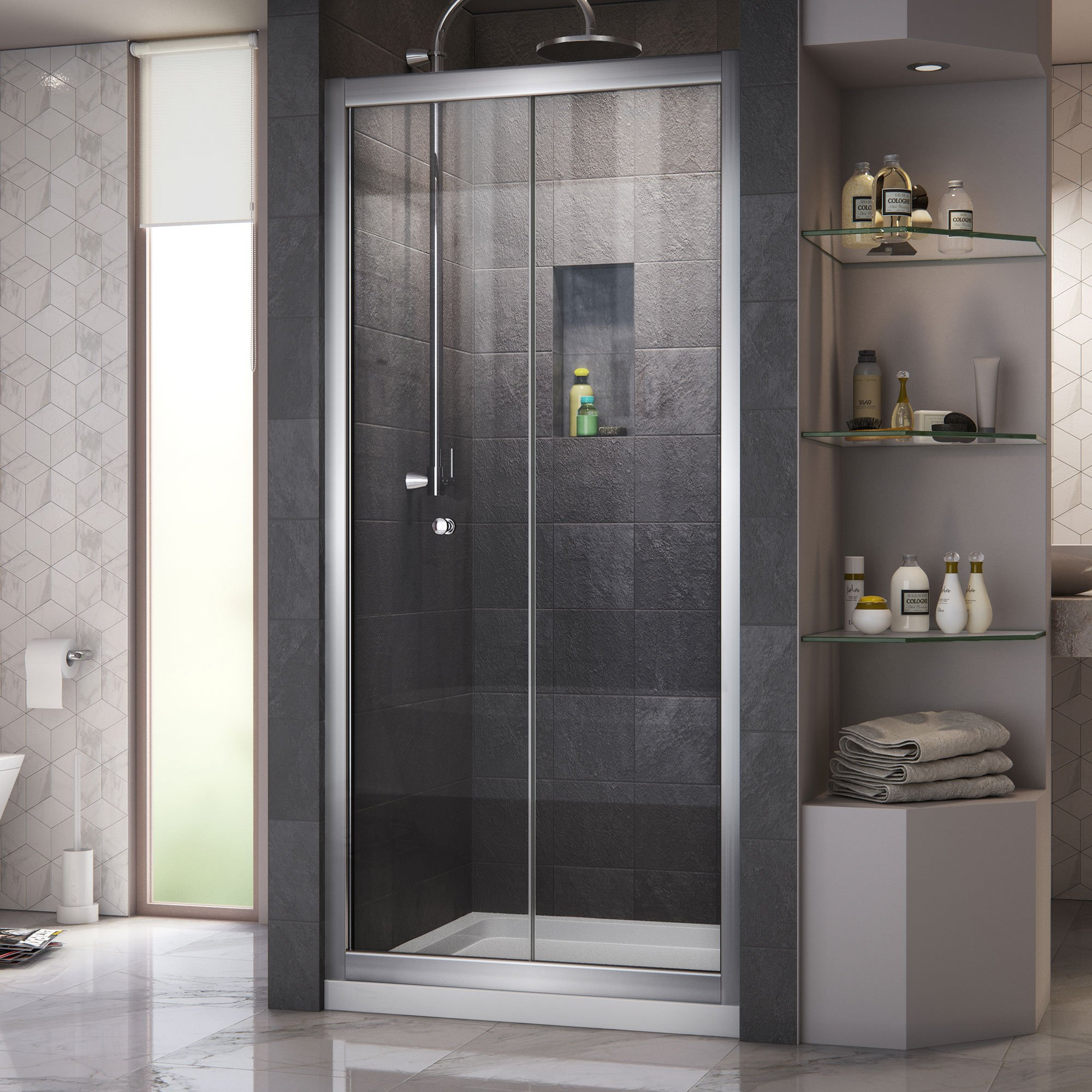 DreamLine Butterfly 34-35 1/2 in. Width, Frameless Bi-Fold Shower Door, 1/4'' Glass, Chrome Finish by DreamLine (Image #6)