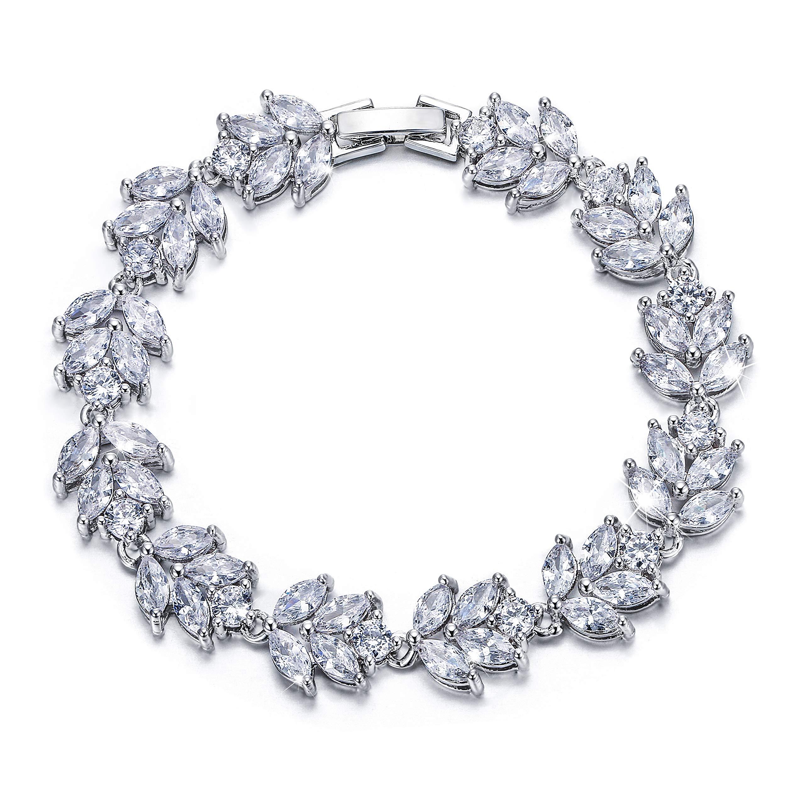 EVER FAITH Silver-Tone Full Cubic Zirconia December Birthstone Leaf Bridal Roman Tennis Bracelet Clear by EVER FAITH