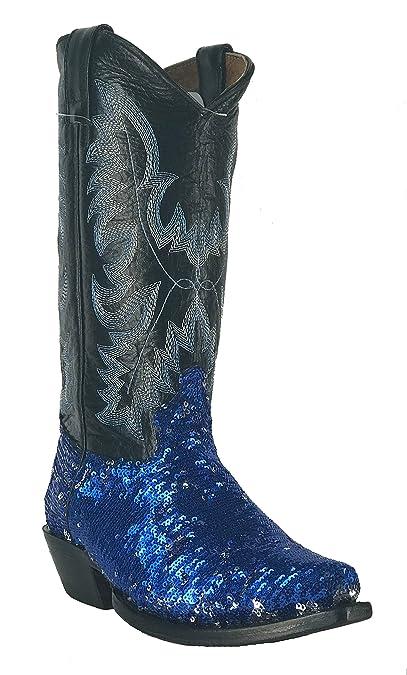 Women s New Fantastical Shimmering Sequin Western Cowgirl Biker Boots Snip  Blue ... e3000b9392