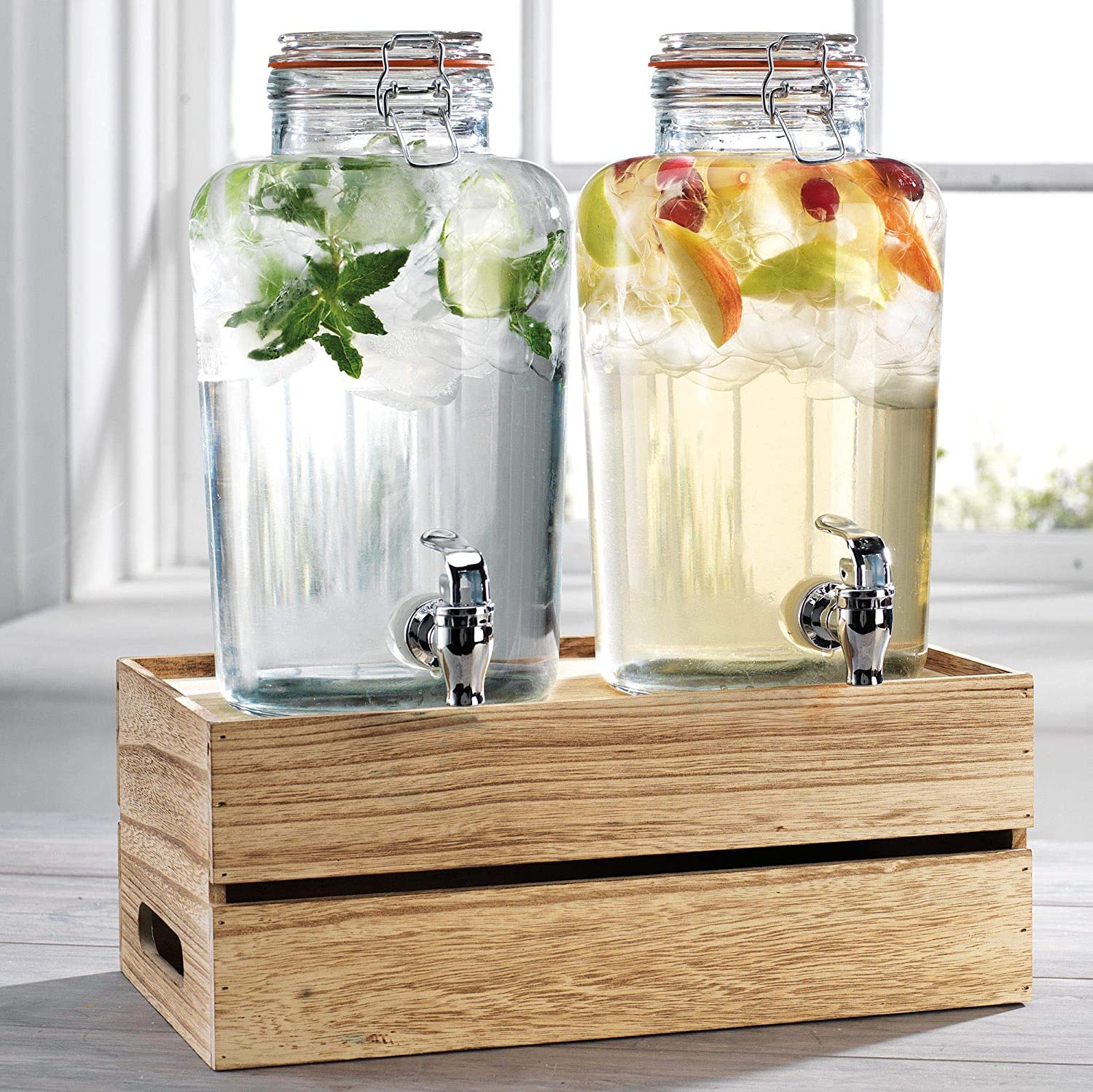 Outdoor Glass Beverage Dispenser + Wooden Base, Stainless Steel Spigot - 100% Leak Proof - Wide Mouth Easy Filling - Fun Party Glassware for Water, Iced Tea, Punch, Cold Drinks, 2-1 Gallon Mason Jars