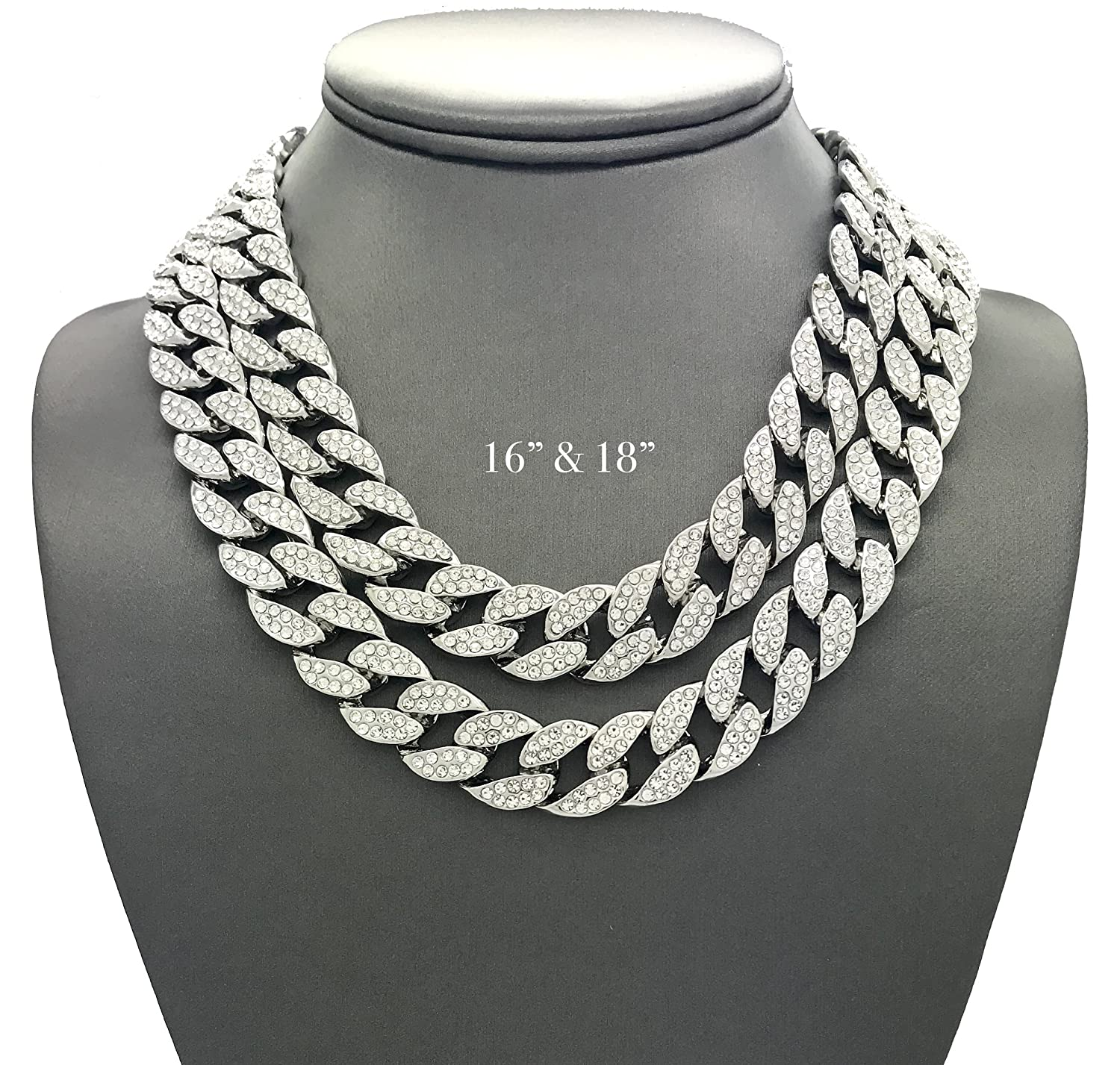 Shiny Jewelers USA Mens Iced Out Hip Hop Silver tone CZ Miami Cuban Link Chain Choker Necklace unbranded