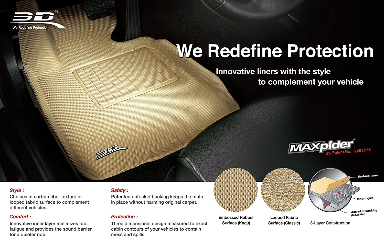 Tan 3D MAXpider Front Row Custom Fit Floor Mat for Select Dodge Models Classic Carpet L1DG02012202