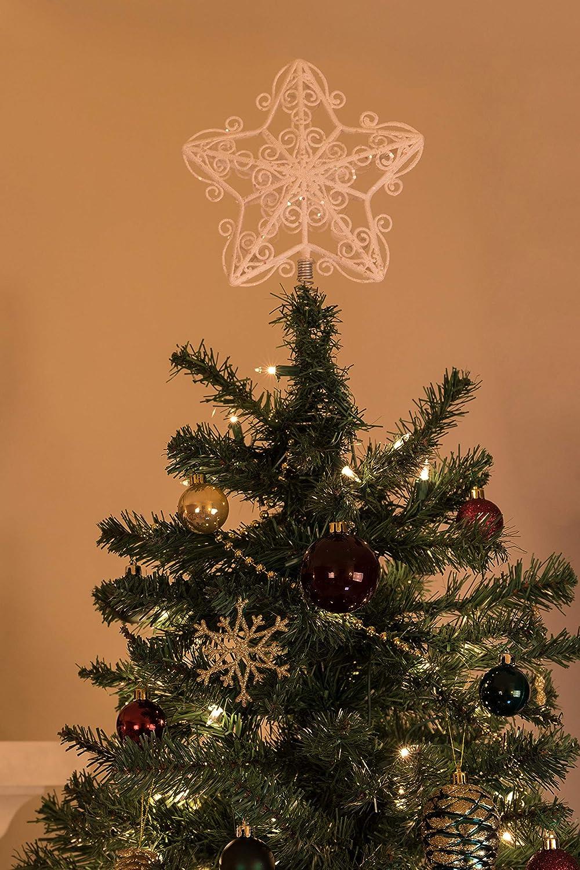 Adorno para coronar el /árbol de Navidad Clever Creations Estrella roja 27,9 cm Pl/ástico Brillante Resistente a los Golpes Ideal para /árboles de Cualquier tama/ño