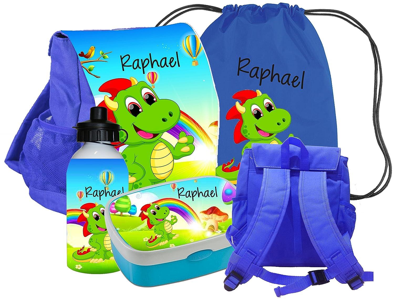 Kindergartenrucksack CHICO als SET mit Namen Motiv DINO - (Set: Rucksack Brotdose Turnbeutel Trinkflasche) - Farbe
