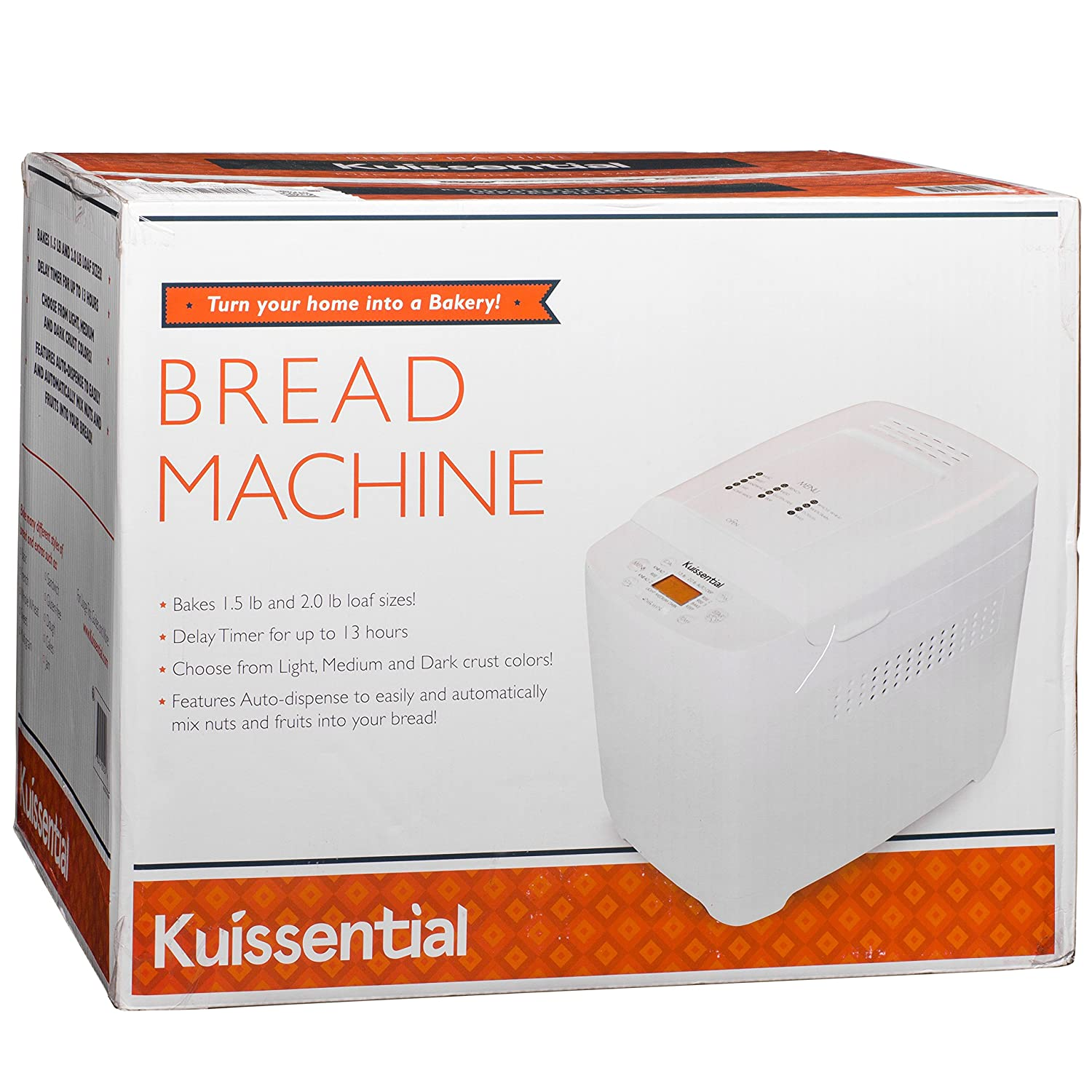 Kuissential 2-Pound Programmable Bread Machine w//Auto Fruit and Nut Dispenser 13 Settings and 13-Hour Delay Timer BMC-001