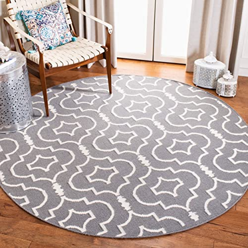 Safavieh Dhurries Collection DHU637B Hand Woven Grey and Ivory Premium Wool Round Area Rug 6 Diameter