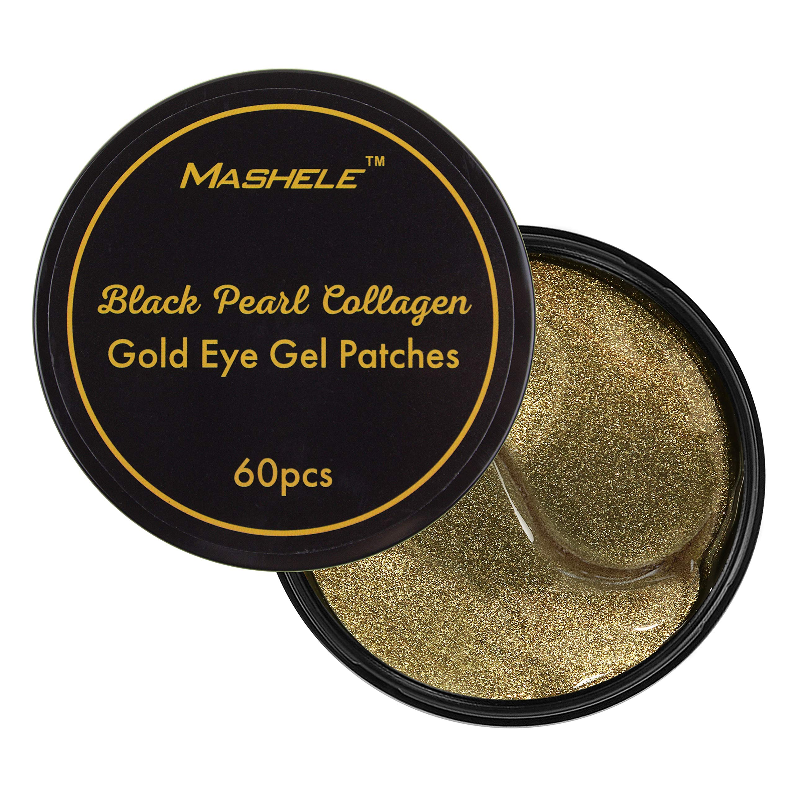MASHELE Korean 60 psc Black Pearl Gold Collagen Eye Patch | Anti Wrinkle Eye Mask Gel Sleep Mask Dark Circles Under Eye Bags Treatment | All-Natural Eye Care Gel for Women and Men eye-pad