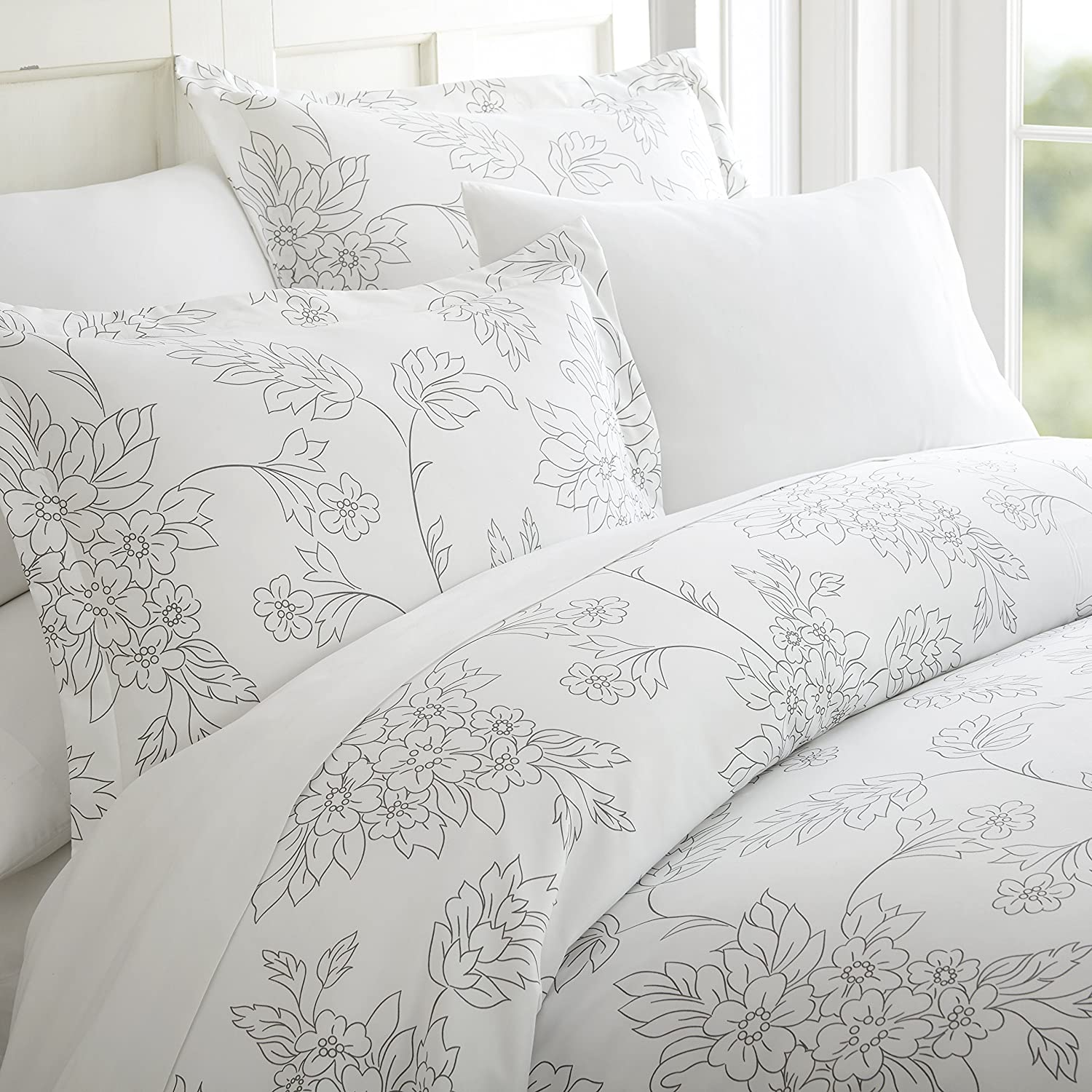 Becky Cameron Duvet Cover Set Vine Patterned, Twin, Gray