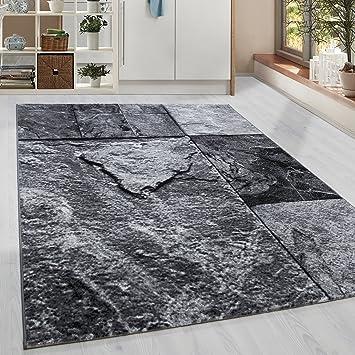 Moderner Kurzflor Guenstige Teppich Patschwork Stein Muster Schwarz Grau  Weiss Meliert 5 Groessen Wohnzimmer, Jugendzimmer