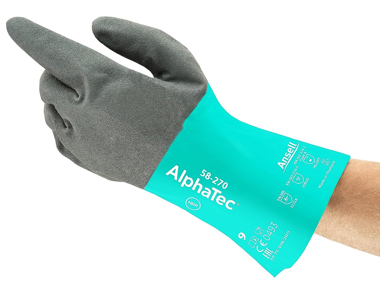 Ansell AlphaTec 58-270 Nitril Handschuhe, Chemikalien- und Flü ssigkeitsschutz, Grü n, Grö ß e 6 (12 Paar pro Beutel) Ansell AlphaTec 58-270 / 6
