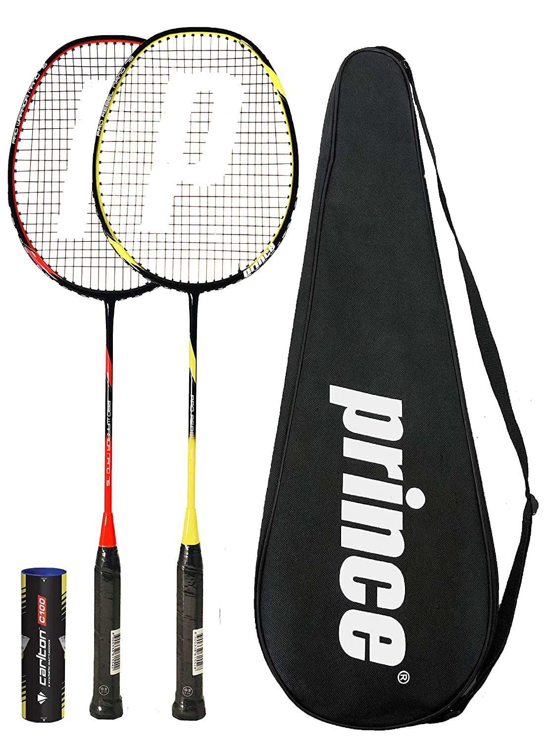 6 Shuttles Various Options Prince PRO Nano 75 Graphite Badminton Racket Series with Full Protective Cover