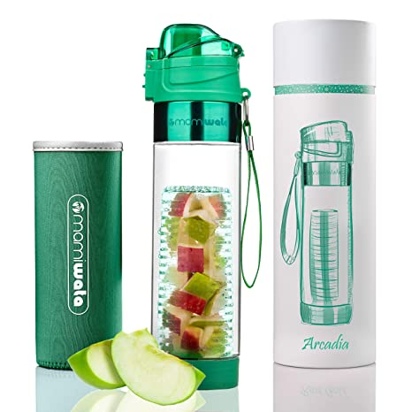 5ec8b330db MAMI WATA Fruit Infuser Water Bottle – Beautiful Gift Box – Unique Stylish  Design - Free Fruit Infused Water Recipes eBook and Insulating Sleeve – 24oz