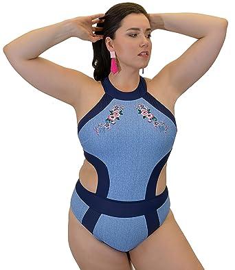 5dc4833120 Yacht & Smith Plus Size Womens Swimsuit, Fashion One Piece Bathing Suit  Tank (Blue