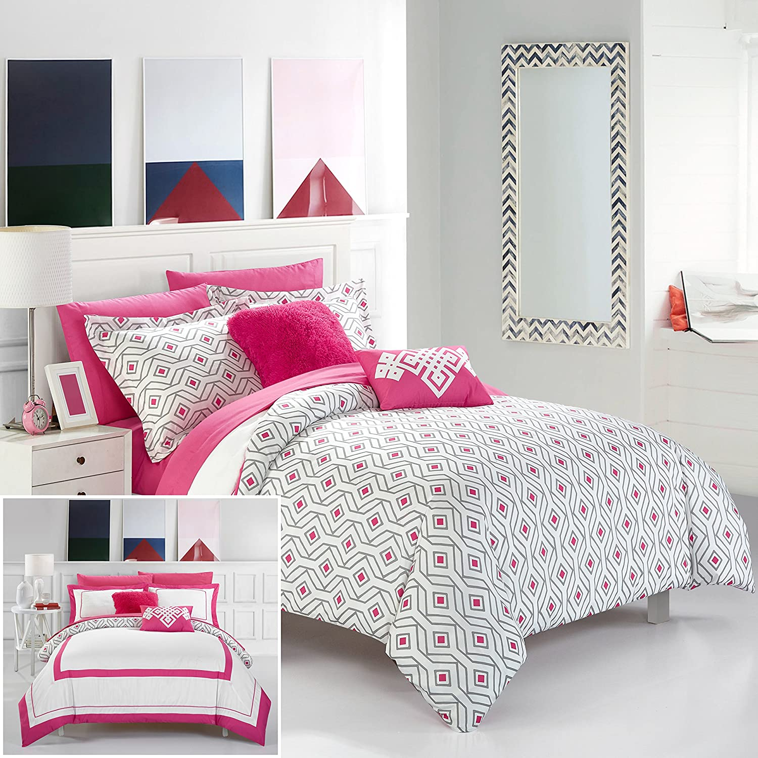 Chic Home 7 Piece Beckham Contemporary Geometric Reversible Bold Lines Hotel Collection Bed in Bag, Fuschia