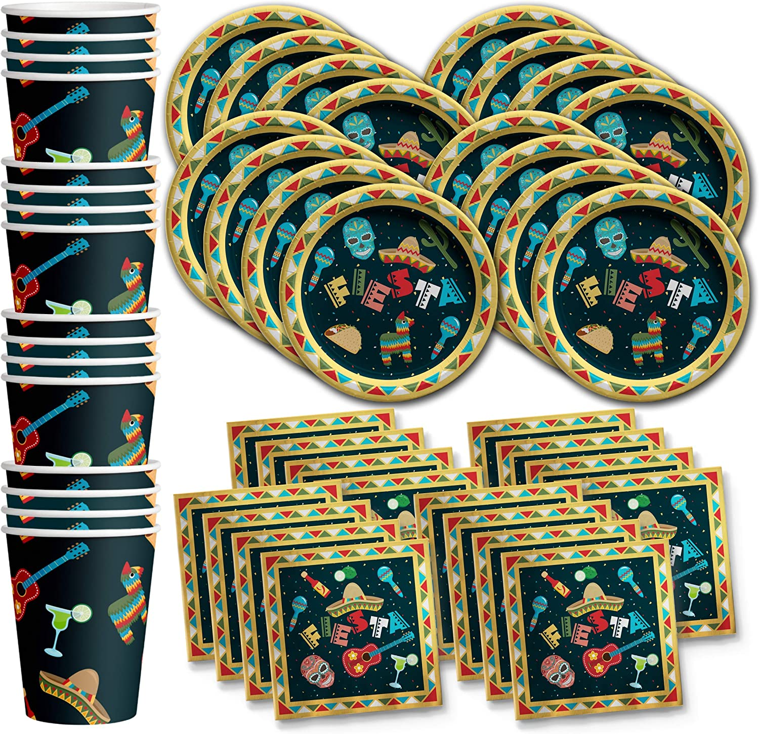 Mexican Fiesta Birthday Party Supplies Set Plates Napkins Cups Tableware Kit for 16