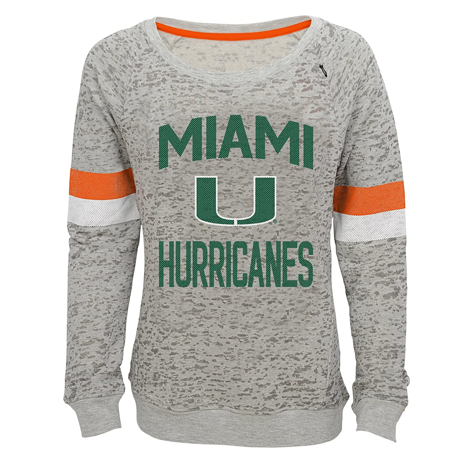 Youth Large NCAA by Outerstuff NCAA Miami Hurricanes Youth Girls My City Boat Neck Pullover Heather Grey 14