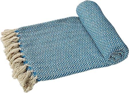 EHC Algodón sofás o Manta para Cama de Matrimonio Brazo Individual Doble para Silla Azul-: Amazon.es: Hogar