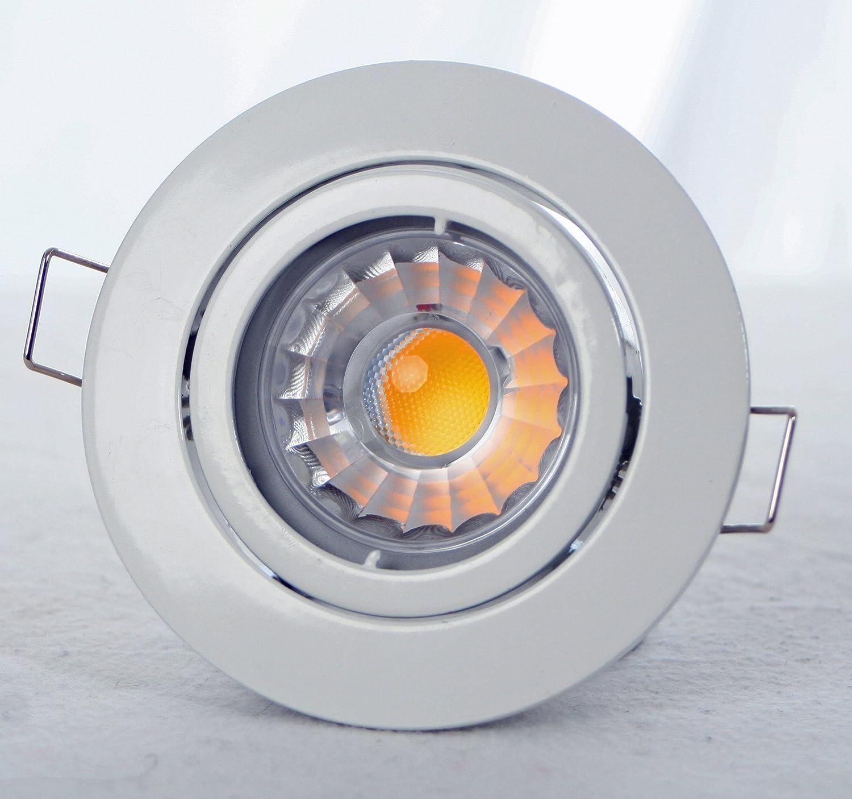 3x Deckenspot   Deckenstrahler mit 7 Watt LED COB Leuchtmittel DIMMBAR in Warmweiss, LED-Deckenstrahler, LED- COB Spot, Spot, Deckeineinbaustrahler, Einbaufassung mit Leuchtmittel, schwenkbar 30°, rund mit Bajonettverschluss in Weiß (weiss), mit GU10 Fass