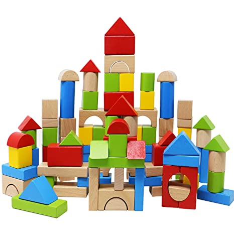 Lewo Wooden Building Blocks Games Construction Toys Toddlers Stacking Block Set 100 Pcs