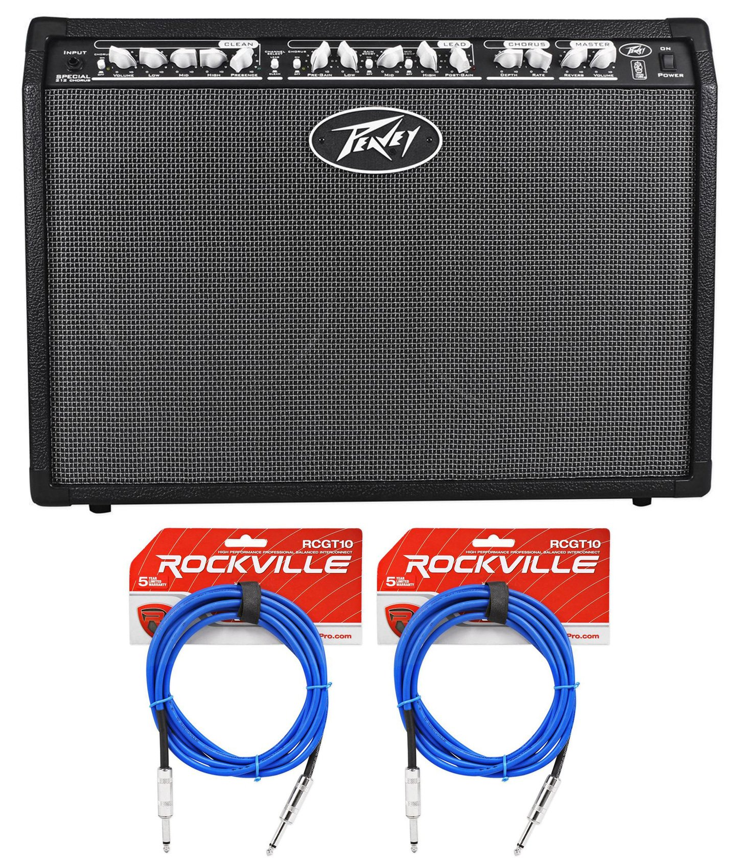 Package: Peavey Special Chorus 212 2-Channel 100 Watt Guitar Amplifier Combo + (2) Rockville RCGT10B 10' Nickel-Plated 1/4'' TS to 1/4'' TS Guitar / Instrument Cables - Blue