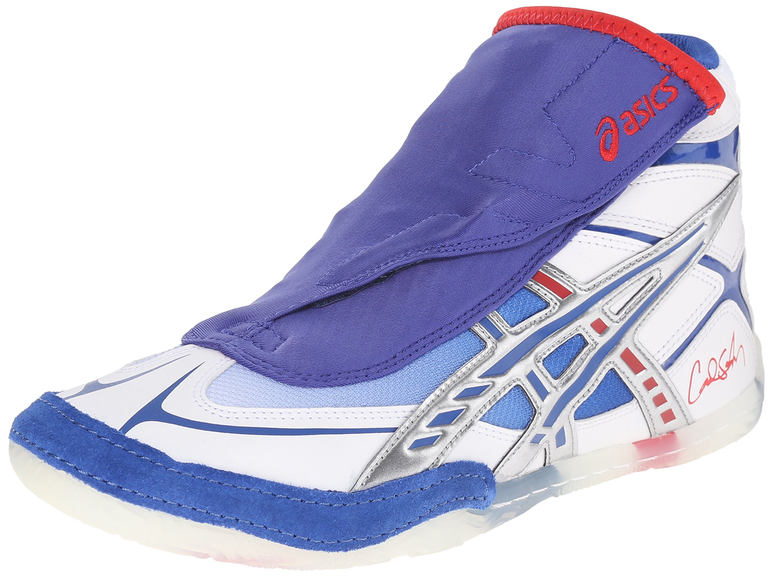 ASICS Men's Cael Wrestling Shoe, White/Blue/Red, 8 M US