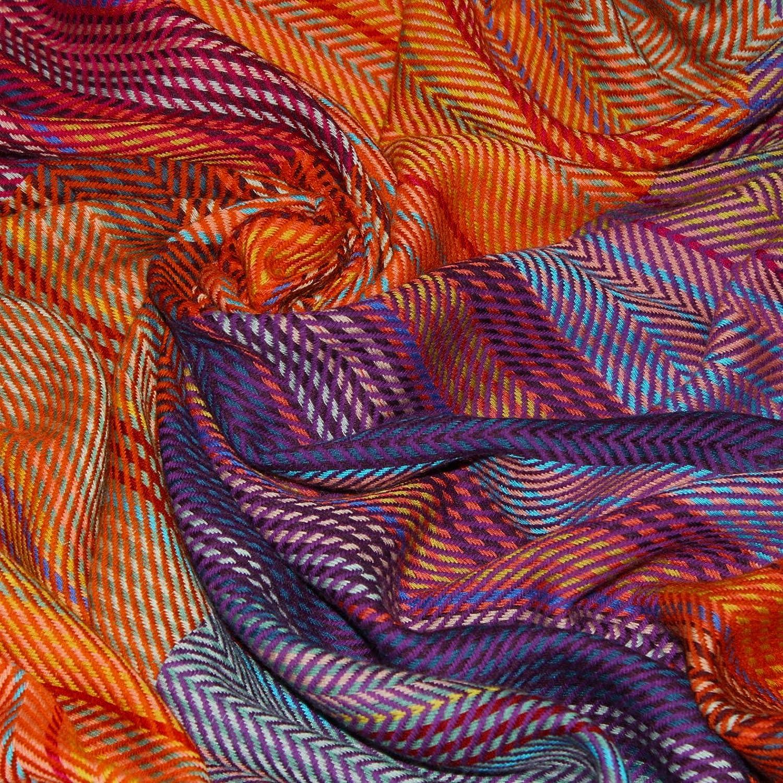 Lorenzo Cana Couverture en Laine de 100/% Laine Confortable en Orange Violet Rouge Jaune Couvre-lit jet/é de canap/é ou Plaid