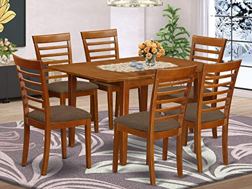 East West Furniture MILA7-SBR-C 7-Piece Dining Set 6 Dining Room Chairs and a Wooden Table