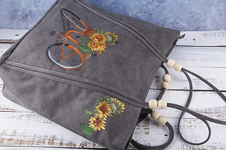 17c40e66cb03 Amazon.com  Hand Painted Sunflower Vegan Large Waxed Canvas Tote Bag with Pocket  Zipper-Women Grey Fabric College School Oversize Shoulder Bag Handbag-Boho  ...