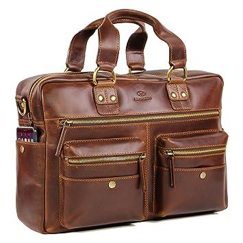 c034b26535bb0 ALMADIH Aktentasche TERRY aus Premium Rindsleder mit gepolstertem  Laptopfach - Leder Herren Tasche viele Fächer Umhängetasche