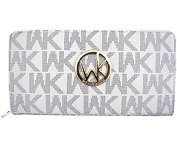 b0ec612613 Blancho Bedding Womens [WENDY KEEN] PU Leather Wristlet Wallet Zipper Purse  Card Holder WHITE