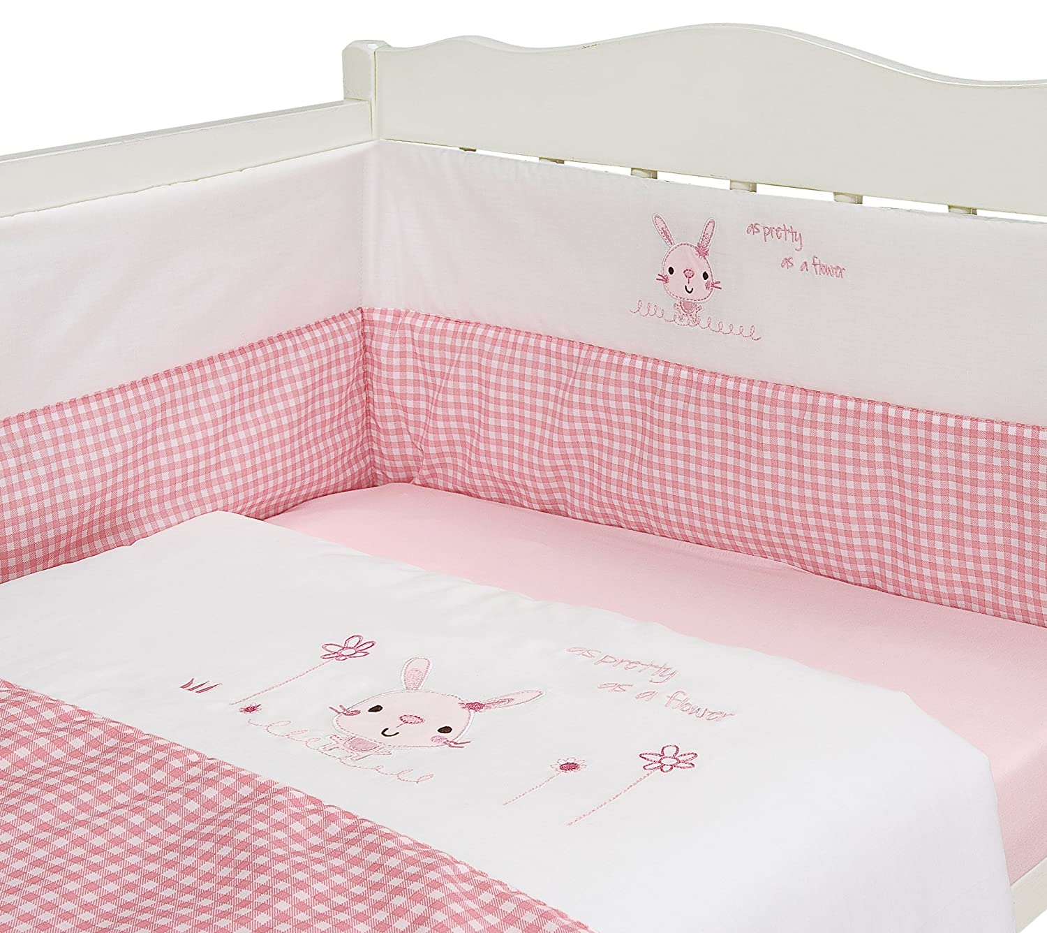 BABY NURSERY PINK RABBIT DESIGN BEDDING 3 PIECE BALE SET QUILT AND BUMPER SET PINK Angel's Hub