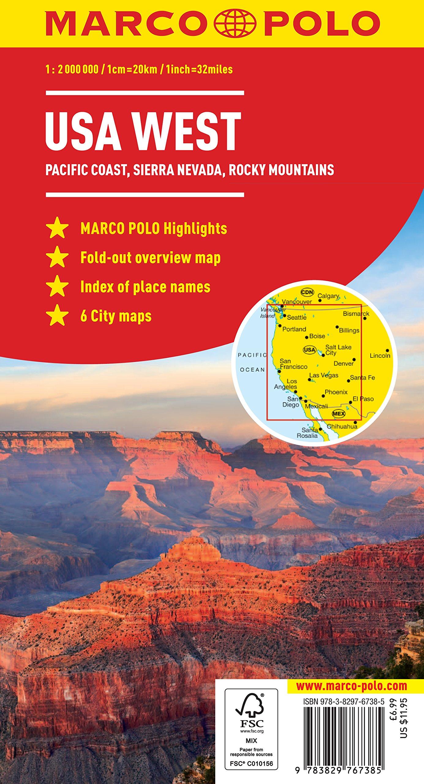 Cartina Usa West.Usa West Marco Polo Map Marco Polo Maps Marco Polo Travel Publishing 9783829767385 Amazon Com Books