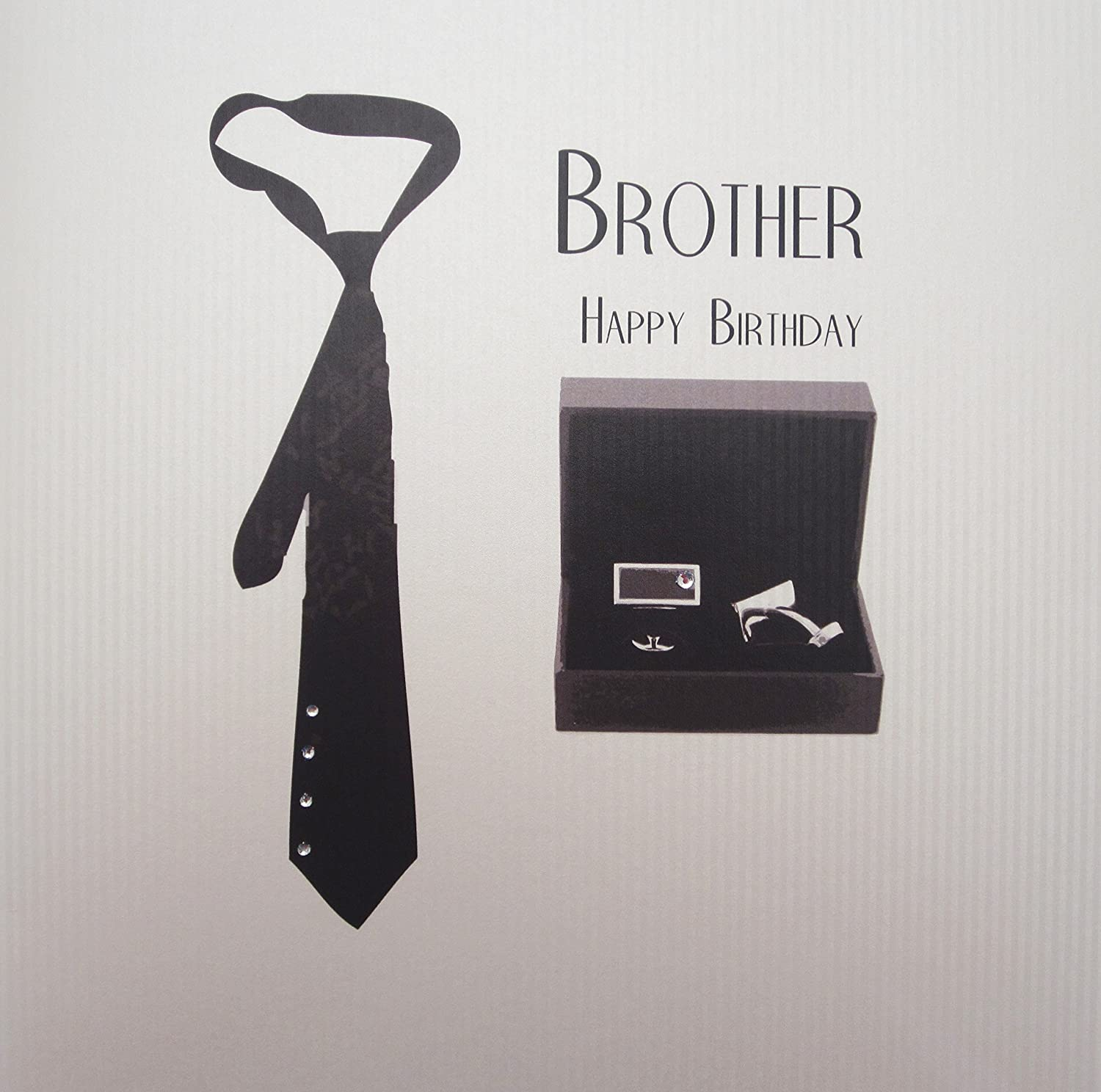 White Cotton Cards Grande Corbata y Gemelos, Brother Happy ...
