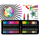 Dual Tip Brush Pens Art Markers 36 Color Set with Canvas Organizer Case Flexible Brush and 0.4mm Fineliner - Coloring Journaling Lettering Drawing Sketching Designing Illustration Manga Doodling