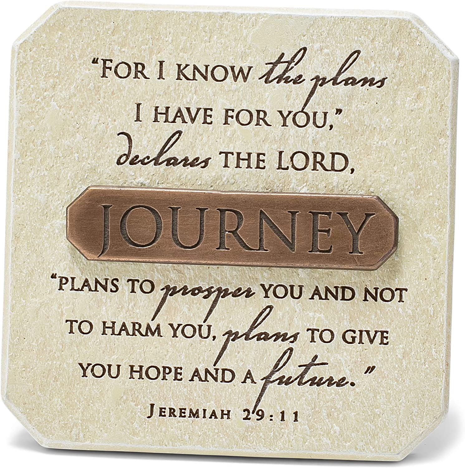 Lighthouse Christian Products Plans for Your Journey Sandstone 3.75 x 3.75 Cast Stone Bronze Title Bar Plaque