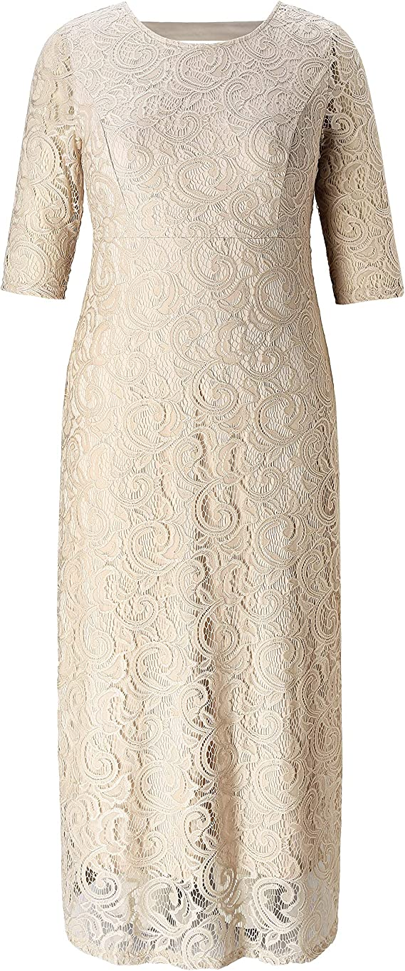 Party Wedding Cocktail Dress Chicwe Womens Plus Size Stretch Guipure Lace Dress