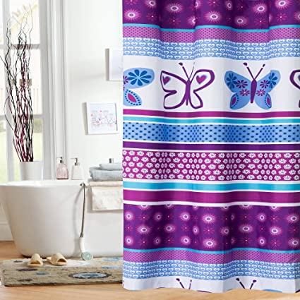 Amazon.com: Mainstays Kids Purple Butterfly Shower Curtain: Cell ...