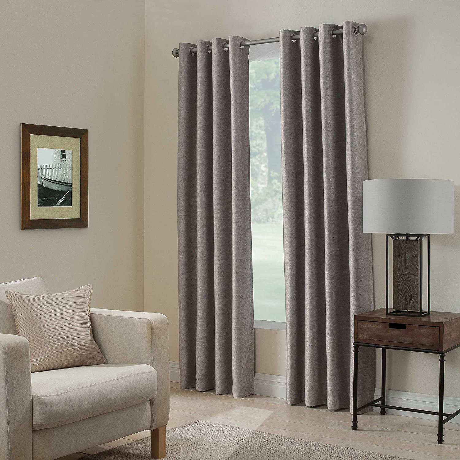 "Gorgeous Home (#32) 1 Panel Solid Plain Thermal Foam Lined Blackout Heavy Thick Window Curtain Drapes Silver Grommets (Silver, 84"" Length)"